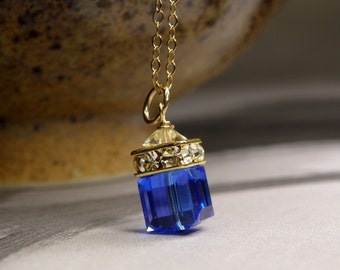 Sapphire Blue Crystal Necklace, Swarovski Bridesmaid Necklace, Gold Filled, Wedding Jewelry, Handmade Bridal Party Gift, September Birthday