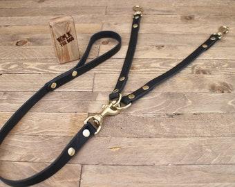 Leather leash, Coupler Dog Leash, Two dogs walk, Double leash, Dog walk, Pet gift, Leather coupler leash.
