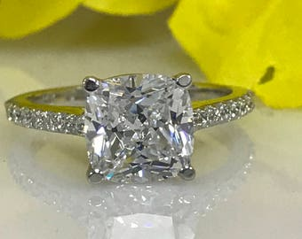 Moissanite Cushion Cut 2.50ctw.Engagement Anniversary Wedding Ring With Diamond Accents  In 14k White Gold #5009