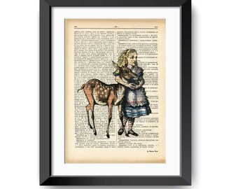 Alice and the little fawn dictionary print-Alice in wonderland print-Alice on book page-Nursery print-dictionary art-by NATURA PICTA-DP143