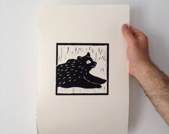 Scandinavian woodland bear print, hand pulled print, measuring 26 x 39 cm, edition of 100 on quality 220 GSM paper