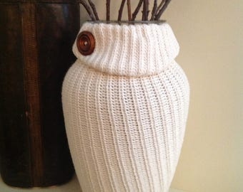 House Warming Gift/Chunky Sweater Vase/White Vase/Handmade Recycled Modern Textured/Valentines Day Gift Idea/ Repurposed/Flower Container/