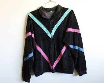 LARGE Vintage 1980s Abercrombie and Fitch Soft Black Zippered Sweatshirt