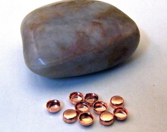 Bezel Cups - 4 mm Round Solid Copper Plain Wall - Quantity 10 - Jewelry or Craft Supply