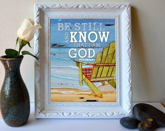 ART PRINT, Psalm 46:10,Be still, Christian print,beach art, Christian art, Scripture, wall decor, adirondack chair, wall decor, All Sizes