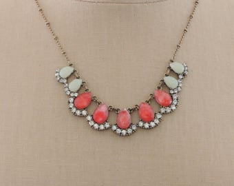 Vintage Inspired Necklace - Rhinestone Necklace - Crystal Necklace - Pink Necklace - Green Necklace - Vintage Brass Necklace - handmade
