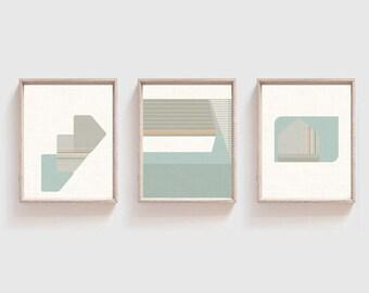 Set o f 3 Bauhaus inspired Art Prints -  11 x 14 inches