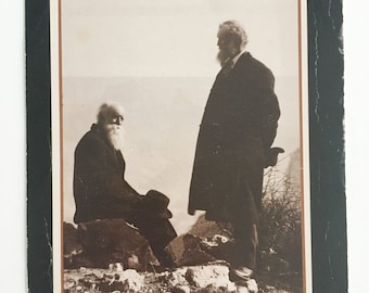 john muir and john burroughs vintage sepia photo postcard