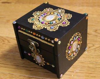 Midnight Jewel Keepsake Box - Henna Inspired Design - Henna Box