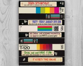 VHS pile 80's 90's Invitation - 90s cassette invitation - 80s tape invite - 80s 90s party - VCR, Video Cassete - Videocassette birthday