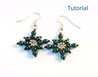 Beaded Earring Patterns - Beaded Christmas Earrings - Snowflake Ornament Pattern - Beaded Christmas Ornament Patterns - Beading Patterns