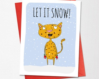 Printable Funny Christmas Card, Let It Snow, Instant Download Funny Christmas Card, Holiday Card, Printable Christmas Card, Christmas Card