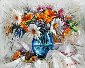 Modern abstract-vase with colourful flowers c94845 50 x 60 cm abstract painting hand painted