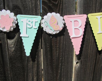 Pastel yellow, pink and turquoise Birthday Banner, Happy Birthday Banner, Happy Birthday, Girl Banner 1st Birthday