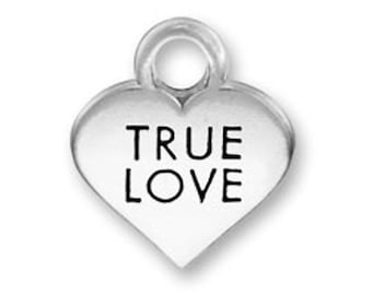 2 True Love Heart Charms, 2 Sided, Antique Silver Tone (1J-89)