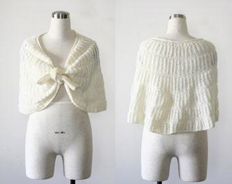 1960's Vintage Caplet, Hand-Knit Crochet Ivory Wrap
