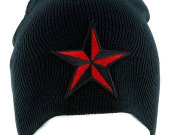Red Nautical Star Beanie Alternative Clothing Knit Cap Rockabilly Tattoo Ink - YDS-EMPA-048-RED-Beanie