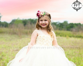 Champagne, Ivory Flower Girl Tutu Dress