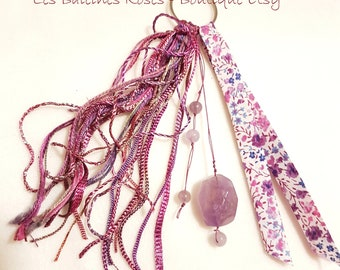 Keychain or GRI-GRI bag, liberty and Amethyst/gift for her stone / mother's day