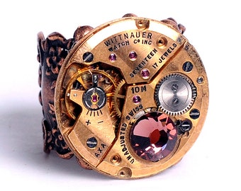 Steampunk Vintage Rose Gold Wittnauer Watch Movement and Burgundy Crystal Adjustable Ring