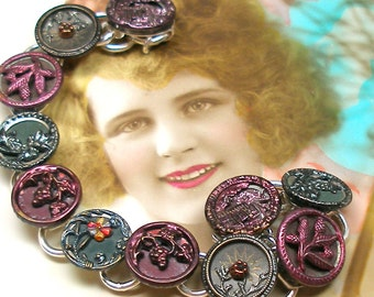 "1800s Antique BUTTON bracelet, Victorian Flowers in maroon & green, 8"" button jewellery."