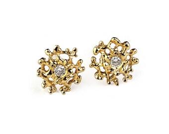 CORAL Gold Earrings, Gold Gemstone Earrings, Small Earrings Studs, Gold Stud Earrings, Small Gold Posts, Organic Earrings, Mothers Day Gift