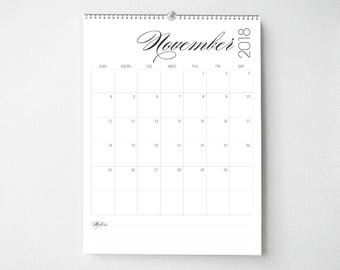 2018 Monthly Wall Calendar, 8.5x11, Wall Calendar, Modern Gifts for Her  (cal0057)