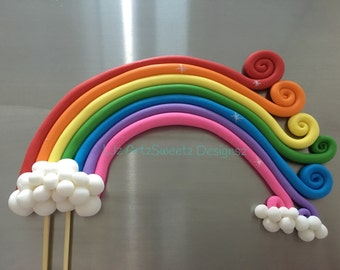 Large Edible 3D Fondant Rainbow with Clouds Cake Topper Sugar Paste Gumpaste Cake Decoration Party