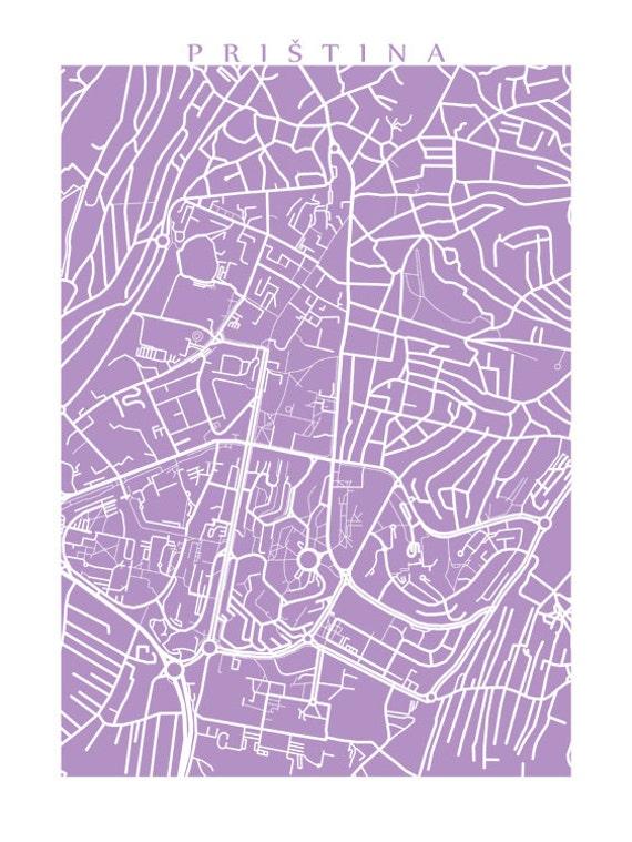 Priština Map Prishtina Kosovo Poster - pristina map