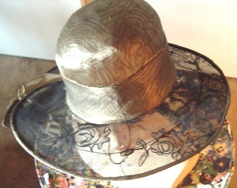 Original Teens Era Gold Lame' Brocade Hat Lace Wide Picture Brim All Original Perfect Item #827 Hats
