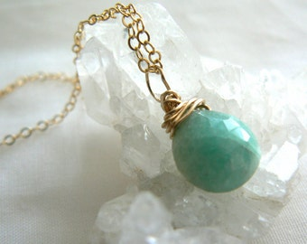 Amazonite drop pendant- Amazonite gemstone gold filled necklace- Boho blue stone pendant- Chic women necklace- Pendant gemstone gift