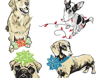HOLFBOX: Celebration Dogs - Box of 8 Assorted Cards