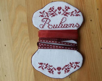 you will hand embroidered for storing your ribbons