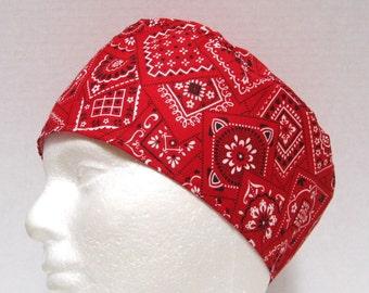 Mens Red Bandana Scrub Hat, Surgical Cap or Doctors Skull Cap