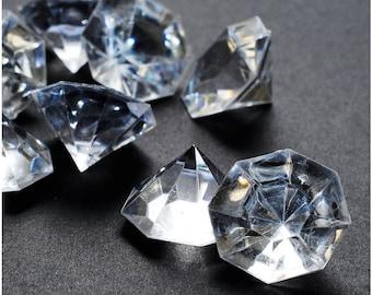 Pkg of 24 Clear 25 Carat Acrylic Diamonds  Big Diamonds for Table Centerpiece Decorations, Wedding Decorations, Bridal Shower Decorations