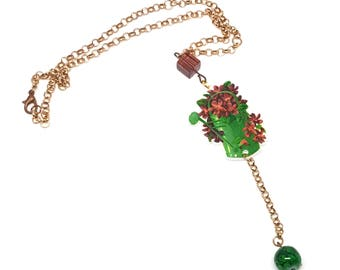 Gardening necklace, Watering Can pendant, Garden inspired necklace, Plants pendant, Gardener Acrylic pendant, Planter Pendant