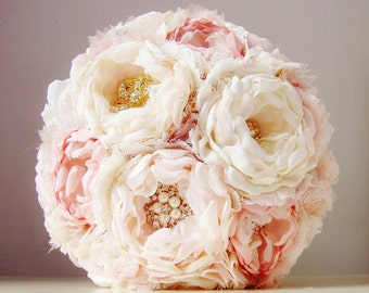 Fabric Flower Wedding Bouquet, Weddings,  Brooch Bouquet,  Fabric Bridal Bouquet,  Vintage Wedding - this is a 50% DEPOSIT ONLY