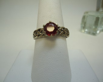 Round Cut Ruby Ring in Sterling Silver   #1014