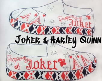 Joker and Harley Quinn inspired hand painted canvas shoes