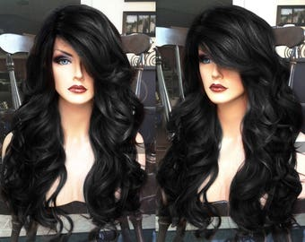 Black Lace Front Wig // Long Wavy + HEAT Ok // Curly Skin Part Retro Wig // for Chemo, Cosplay or Everyday // #AS12