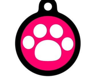 Pet Tag - White Paw Pet Tag, Dog Tag, Cat Tag