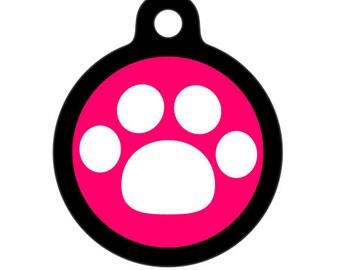 Pet Tag - White Paw Pet Tag, Dog Tag, Cat Tag