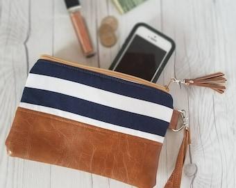 Navy Blue Striped Wristlet, Denim Wristlet, Wristlet Wallet, Womens Wallet, Small Clutch, Faux Leather, Small Crossbody, Phone Wallet, Purse