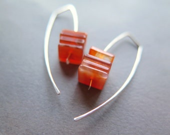 carnelian earrings in sterling silver. burnt orange jewelry. natural stone beads. also available in hypoallergenic niobium wire.