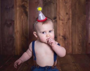 Boy Felt Birthday Hat || First Birthday Party Hat || Circus Birthday Hat || Boy Birthday Party Hat