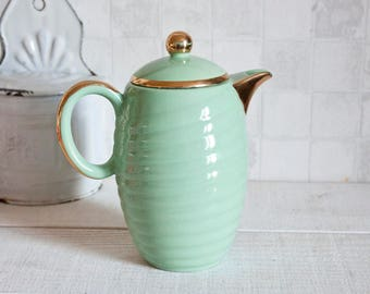 Retro almond green and gold ceramic coffee pot - Romantic French vintage coffee pot - Art deco style