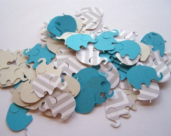 100 Gray Chevron Aqua Elephant Confetti, Elephant Cut Out, Elephant Die Cut, Elephant Baby Shower, Elephant Theme