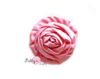 Pink Rose Isabella Collection Ruffled Rosettes- Choose Quantity- Rolled Rosettes- Rolled Rosettes- Rosettes- Flower- Supply- DIY Headband