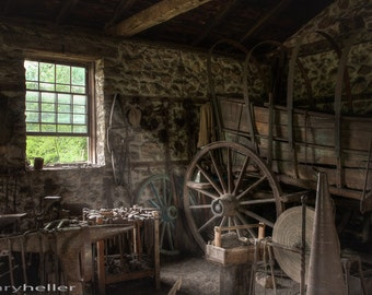 Conestoga Wagon at the Blacksmiths Workshop, Photograph of Interior of an Old World Artisans Workplace, Tools