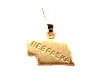 State pendants etsy 2 nebraska state pendants tiny raw brass with bail aloadofball Gallery